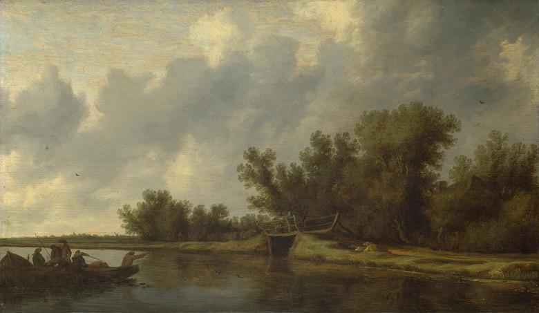 油絵 油彩画 絵画 複製画 サロモン・ファン・ロイスダール 釣り人と川の風景 F10サイズ F10号 530x455mm すぐに飾れる豪華額縁付きキャンバス