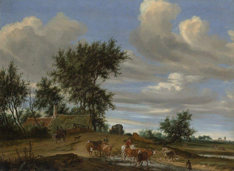 油絵 油彩画 絵画 複製画 サロモン・ファン・ロイスダール 田舎道 P10サイズ P10号 530x410mm すぐに飾れる豪華額縁付きキャンバス