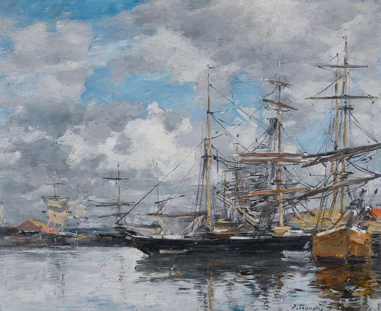 油絵 油彩画 絵画 複製画 ウジェーヌ・ブーダン ドーヴィル流域 F10サイズ F10号 530x455mm すぐに飾れる豪華額縁付きキャンバス