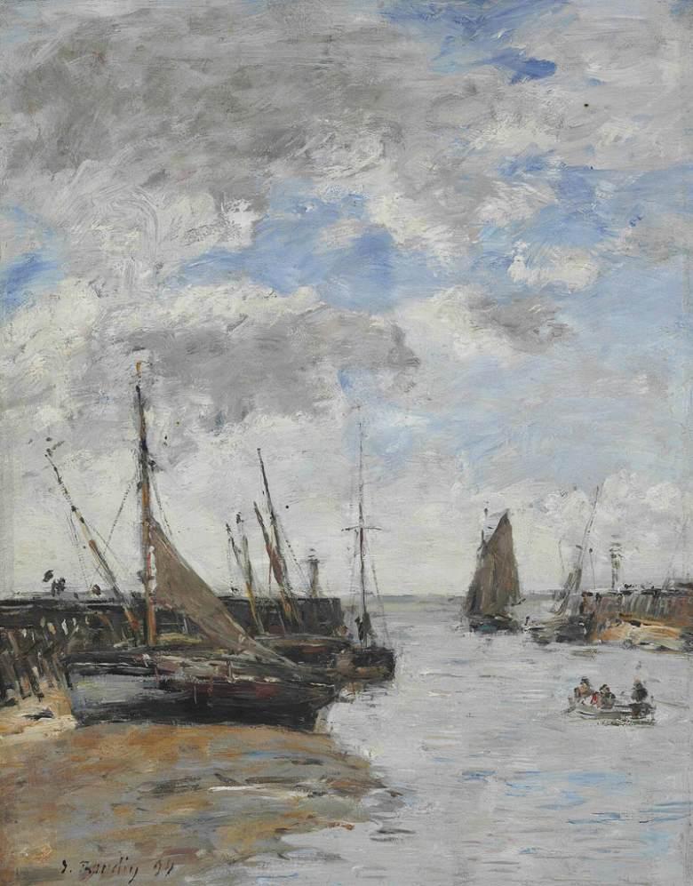 油絵 油彩画 絵画 複製画 ウジェーヌ・ブーダン トゥルーヴィル、干潮時の桟橋 F10サイズ F10号 530x455mm すぐに飾れる豪華額縁付きキャンバス