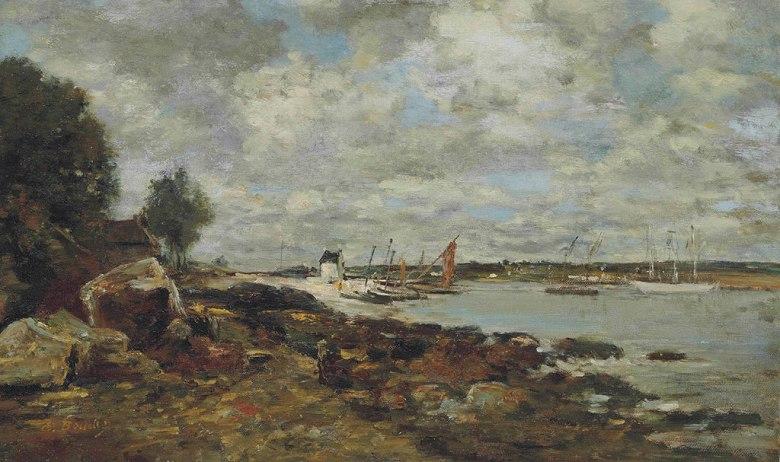 油絵 油彩画 絵画 複製画 ウジェーヌ・ブーダン プルガステルの湾岸沿い F10サイズ F10号 530x455mm すぐに飾れる豪華額縁付きキャンバス