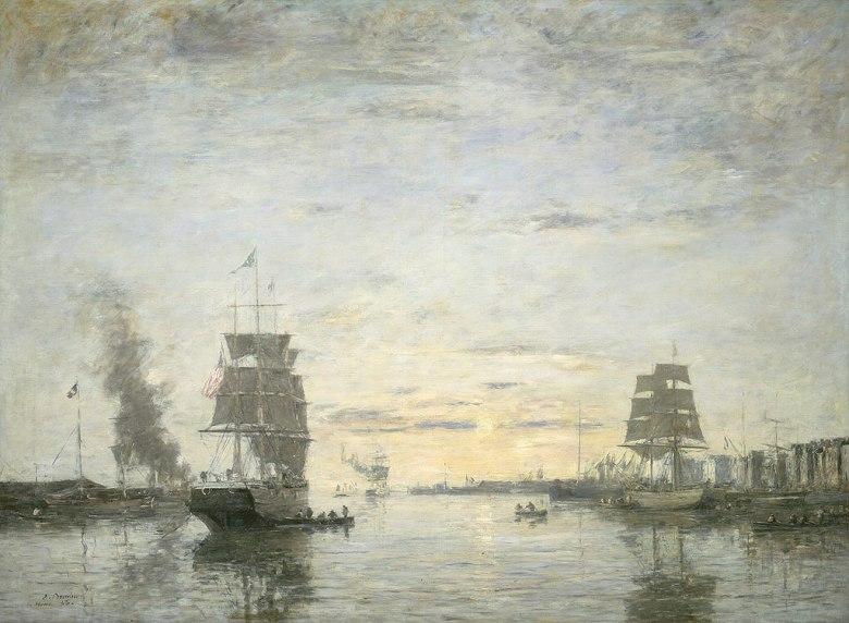 ウジェーヌ・ブーダン ル・アーブルの港の入り口 P30サイズ P30号 910x653mm 条件付き送料無料 絵画 インテリア 額入り 壁掛け複製油絵ウジェーヌ・ブーダン