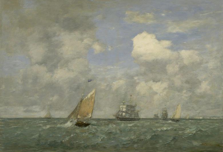油絵 油彩画 絵画 複製画 ウジェーヌ・ブーダン ル・アーブルを離れる船とカッターボート P10サイズ P10号 530x410mm すぐに飾れる豪華額縁付きキャンバス