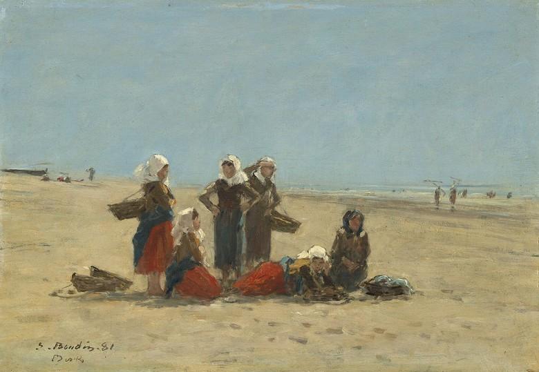 ウジェーヌ・ブーダン ベルクの浜辺の女性たち P30サイズ P30号 910x653mm 条件付き送料無料 絵画 インテリア 額入り 壁掛け複製油絵ウジェーヌ・ブーダン