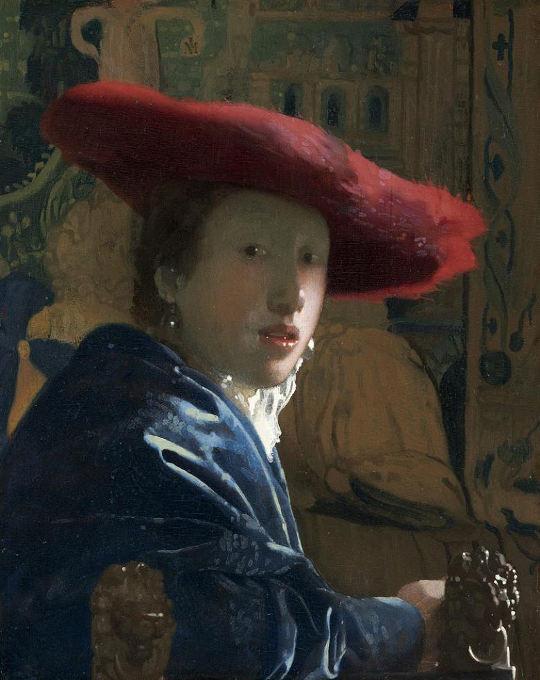 ヨハネス・フェルメール 赤い帽子の女 F30サイズ F30号 910x727mm 条件付き送料無料  額縁付絵画 インテリア 額入り 壁掛け複製油絵 ヨハネス・フェルメール