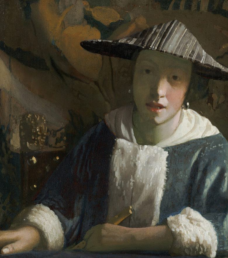 油絵 油彩画 絵画 複製画 ヨハネス・フェルメール フルートを持つ女 F10サイズ F10号 530x455mm すぐに飾れる豪華額縁付きキャンバス