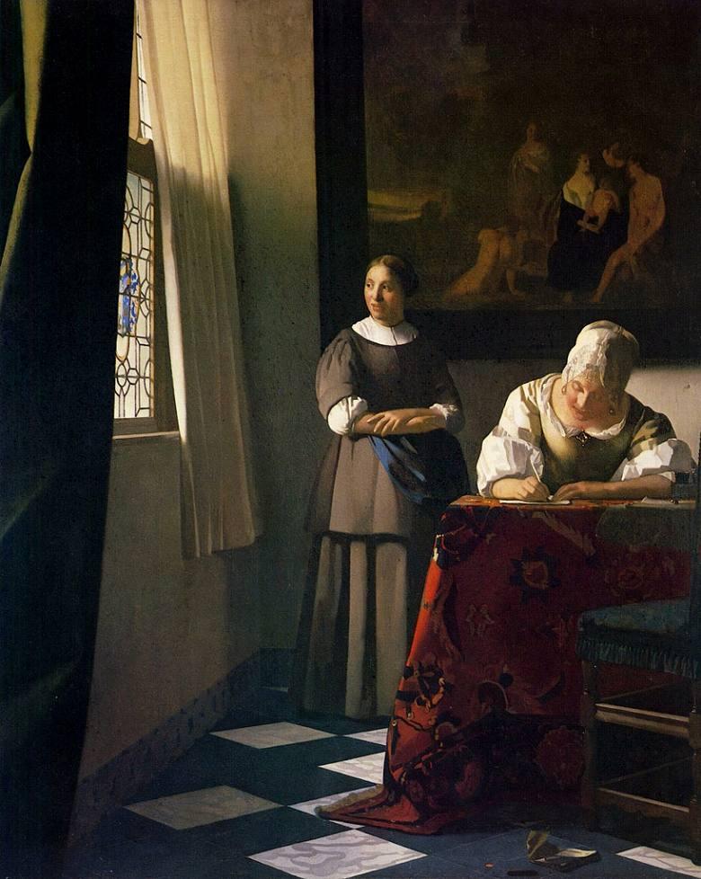 油絵 油彩画 絵画 複製画 ヨハネス・フェルメール 手紙を書く婦人と召使 F10サイズ F10号 530x455mm すぐに飾れる豪華額縁付きキャンバス