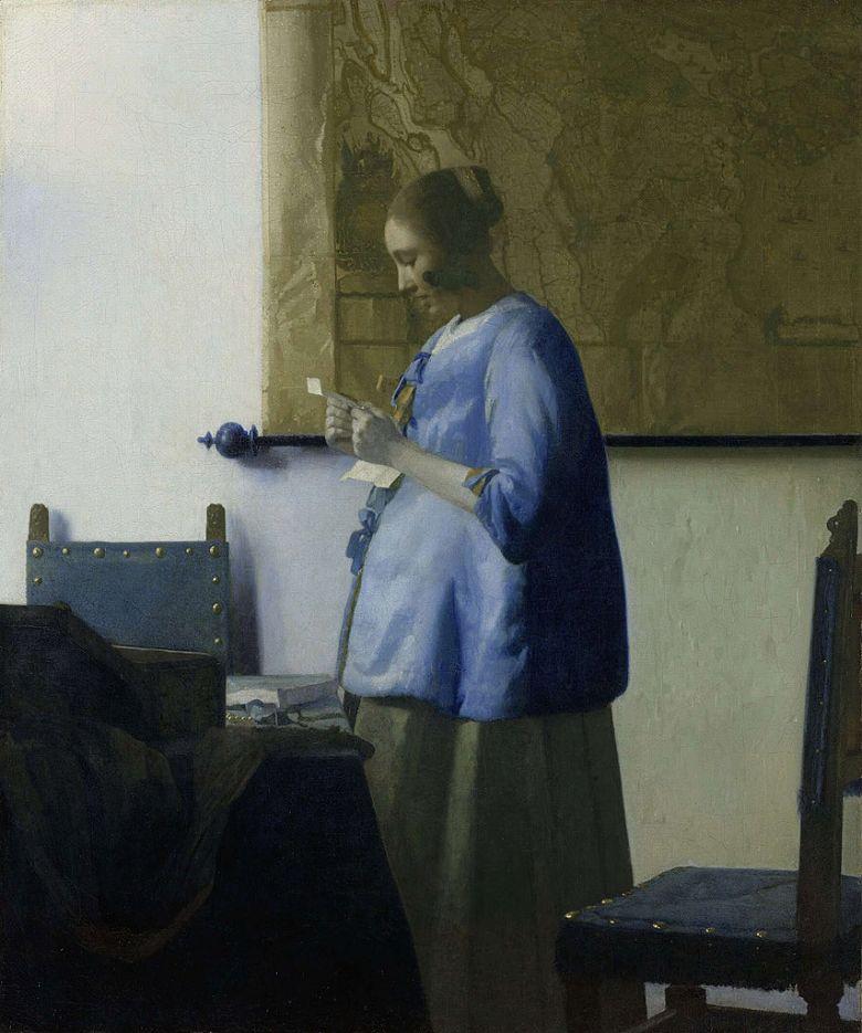 油絵 油彩画 絵画 複製画 ヨハネス・フェルメール 青衣の女 F10サイズ F10号 530x455mm すぐに飾れる豪華額縁付きキャンバス
