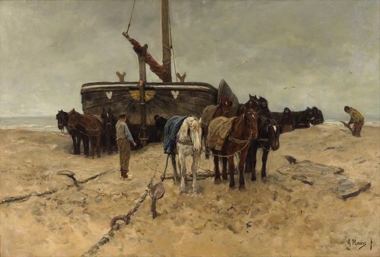 絵画 インテリア 額入り 壁掛け複製油絵アントン・モーヴ 浜辺の漁船 P15サイズ P15号 652x500mm 油彩画 複製画 選べる額縁 選べるサイズ