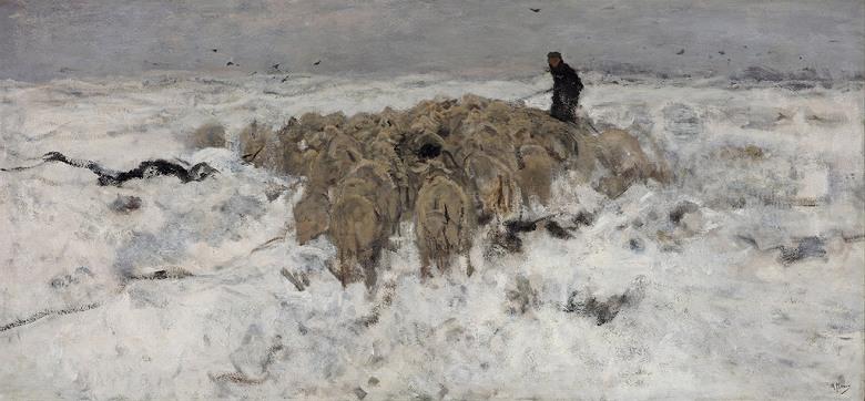 絵画 インテリア 額入り 壁掛け複製油絵アントン・モーヴ 雪の中の羊飼いと羊の群れ F20サイズ F20号 727x606mm 絵画 インテリア 額入り 壁掛け 油絵