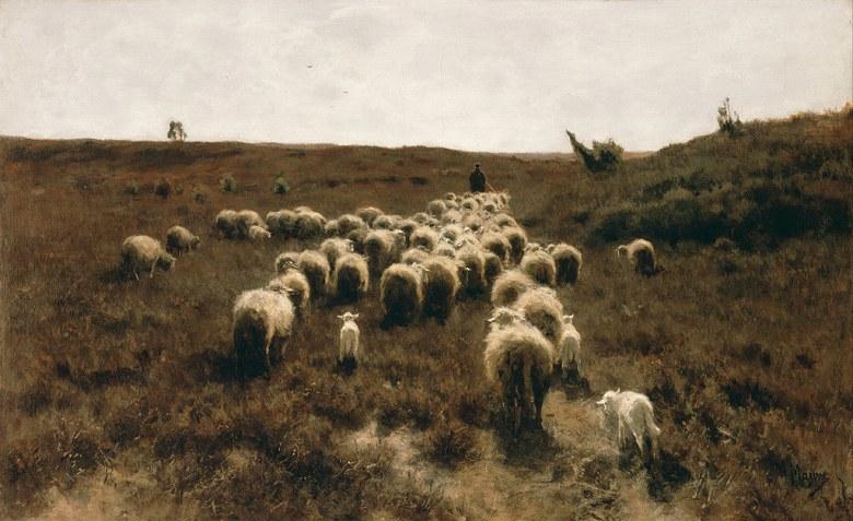 油絵 油彩画 絵画 複製画 アントン・モーヴ 帰宅する羊の群れ M10サイズ M10号 530x333mm すぐに飾れる豪華額縁付きキャンバス