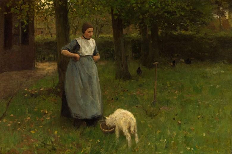 油絵 油彩画 絵画 複製画 アントン・モーヴ 女性と子羊 M10サイズ M10号 530x333mm すぐに飾れる豪華額縁付きキャンバス