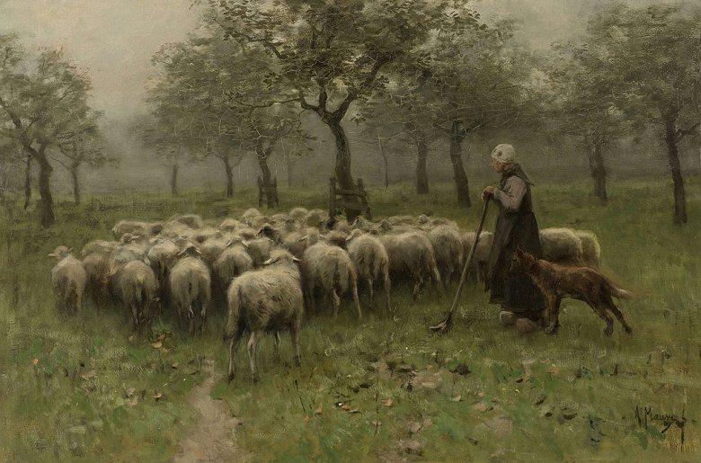 油絵 油彩画 絵画 複製画 アントン・モーヴ 羊飼いと羊の群れ M10サイズ M10号 530x333mm すぐに飾れる豪華額縁付きキャンバス