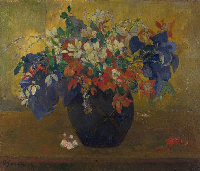 油絵 油彩画 絵画 複製画 ポール・ゴーギャン 花瓶の花 F10サイズ F10号 530x455mm すぐに飾れる豪華額縁付きキャンバス