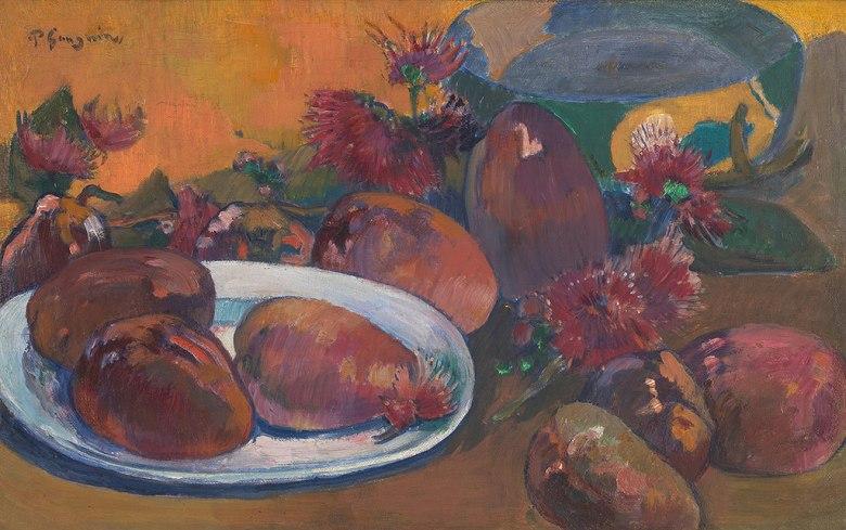 油絵 油彩画 絵画 複製画 ポール・ゴーギャン マンゴーのある静物 M10サイズ M10号 530x333mm すぐに飾れる豪華額縁付きキャンバス