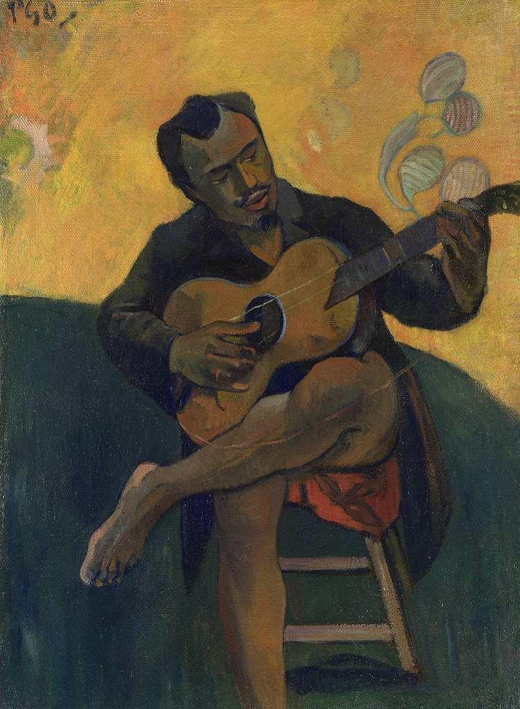 ポール・ゴーギャン ギターを弾く人 P30サイズ P30号 910x653mm 送料無料 絵画 インテリア 額入り 壁掛け複製油絵 ポール・ゴーギャン