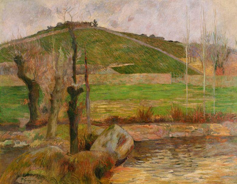 油絵 油彩画 絵画 複製画 ポール・ゴーギャン ポン=タヴェン付近の風景 F10サイズ F10号 530x455mm すぐに飾れる豪華額縁付きキャンバス