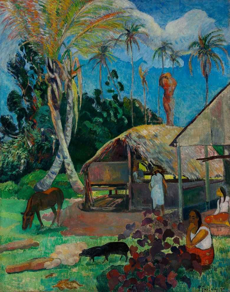 油絵 油彩画 絵画 複製画 ポール・ゴーギャン 黒豚 F10サイズ F10号 530x455mm すぐに飾れる豪華額縁付きキャンバス