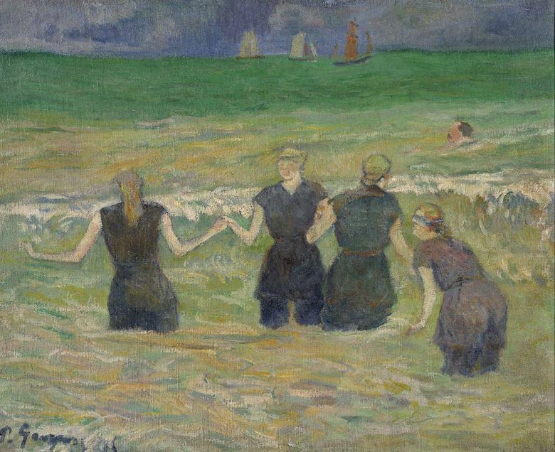 油絵 ポール・ゴーギャン 水浴の女たち F12サイズ F12号 606x500mm 油彩画 絵画 複製画 選べる額縁 選べるサイズ