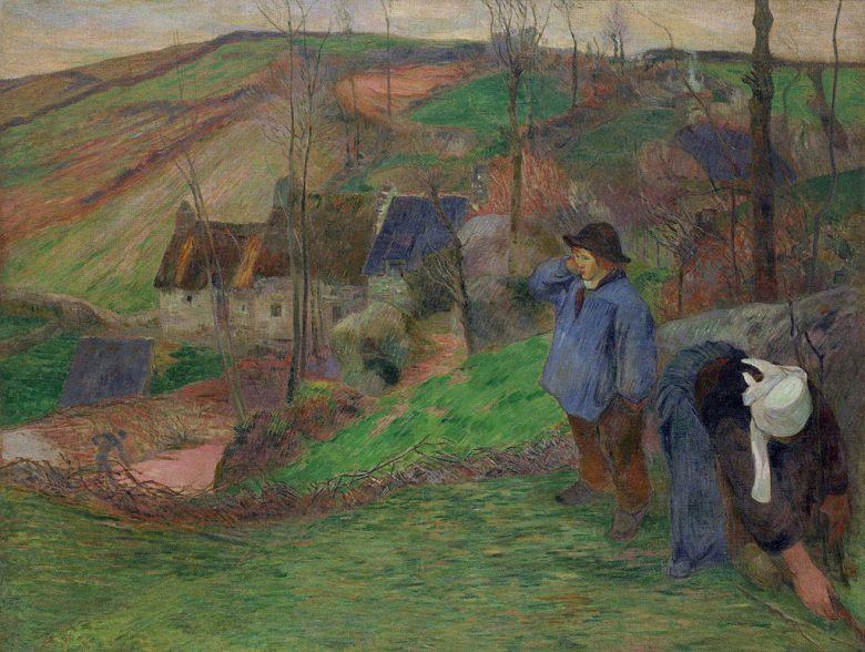 油絵 油彩画 絵画 複製画 ポール・ゴーギャン ブルターニュ風景 P10サイズ P10号 530x410mm すぐに飾れる豪華額縁付きキャンバス
