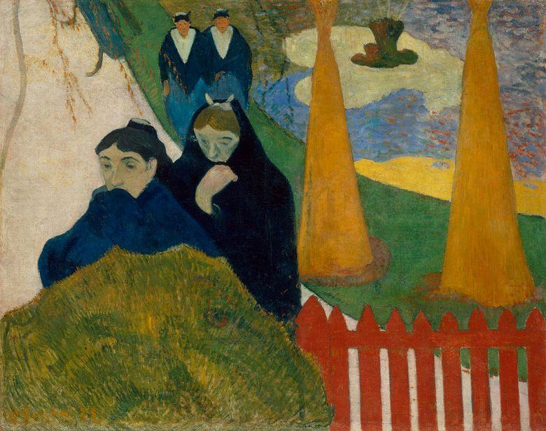 油絵 油彩画 絵画 複製画 ポール・ゴーギャン アルルの病院の庭にて F10サイズ F10号 530x455mm すぐに飾れる豪華額縁付きキャンバス
