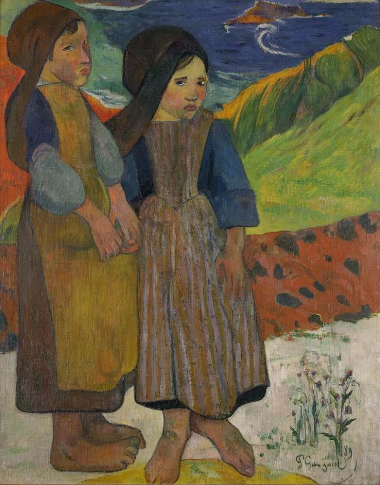 絵画 インテリア 額入り 壁掛け複製油絵 ポール・ゴーギャン 海辺に立つブルターニュの少女たち F15サイズ F15号 652x530mm 油彩画 複製画 選べる額縁 選べるサイズ