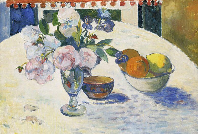 油絵 油彩画 絵画 複製画 ポール・ゴーギャン 卓上の花と果物の入ったボウル P10サイズ P10号 530x410mm すぐに飾れる豪華額縁付きキャンバス