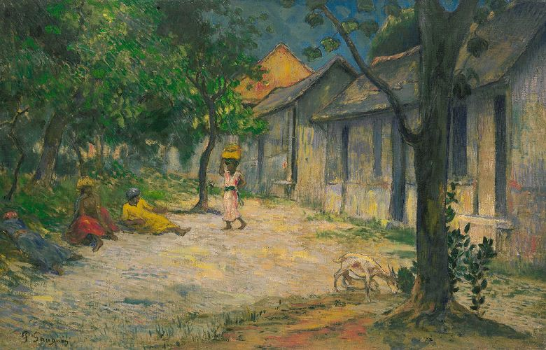 油絵 油彩画 絵画 複製画 ポール・ゴーギャン マルティニークの村 M10サイズ M10号 530x333mm すぐに飾れる豪華額縁付きキャンバス