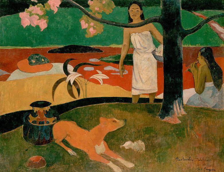 油絵 油彩画 絵画 複製画 ポール・ゴーギャン タヒチ讃歌 F10サイズ F10号 530x455mm すぐに飾れる豪華額縁付きキャンバス