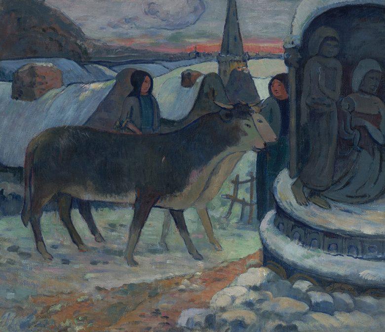 油絵 油彩画 絵画 複製画 ポール・ゴーギャン クリスマスの夜 F10サイズ F10号 530x455mm すぐに飾れる豪華額縁付きキャンバス