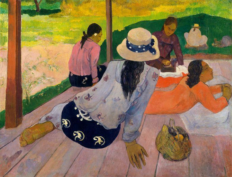 油絵 油彩画 絵画 複製画 ポール・ゴーギャン シエスタ F10サイズ F10号 530x455mm すぐに飾れる豪華額縁付きキャンバス