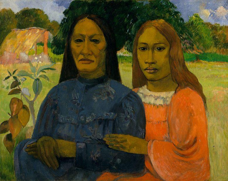 絵画 インテリア 額入り 壁掛け複製油絵 ポール・ゴーギャン 二人の女たち F15サイズ F15号 652x530mm 油彩画 複製画 選べる額縁 選べるサイズ
