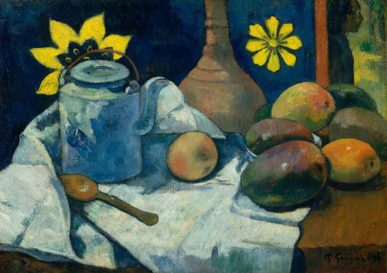 絵画 インテリア 額入り 壁掛け複製油絵 ポール・ゴーギャン 急須と果物のある静物 P15サイズ P15号 652x500mm 油彩画 複製画 選べる額縁 選べるサイズ
