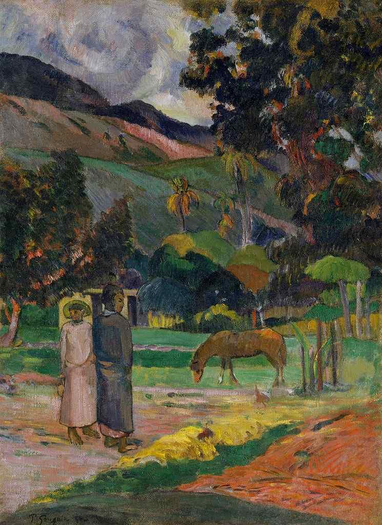 油絵 ポール・ゴーギャン タヒチの風景 P12サイズ P12号 606x455mm 油彩画 絵画 複製画 選べる額縁 選べるサイズ
