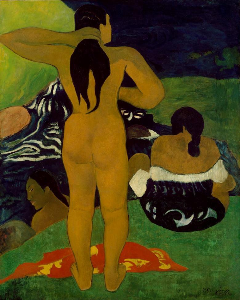 油絵 ポール・ゴーギャン 入浴中のタヒチ女 F12サイズ F12号 606x500mm 油彩画 絵画 複製画 選べる額縁 選べるサイズ