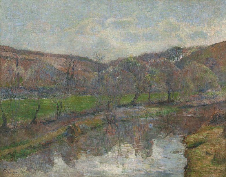 油絵 油彩画 絵画 複製画 ポール・ゴーギャン ブルターニュの風景 F10サイズ F10号 530x455mm すぐに飾れる豪華額縁付きキャンバス