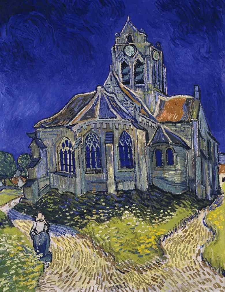 【条件付き送料無料】絵画 油彩画複製油絵複製画/ゴッホ オーヴェルの教会 F30サイズ 1066x883mm 【条件付き送料無料  額縁付 キャンバス】