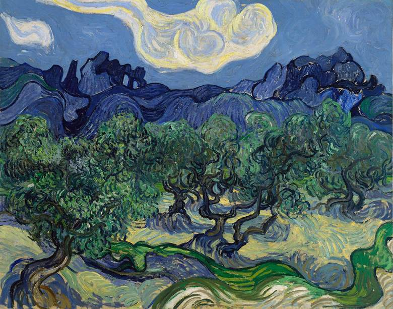 【送料無料】絵画 油彩画複製油絵複製画/ゴッホ オリーブの木々、背景にアルピーユ山脈 F15サイズ 652x530mm 【すぐに飾れる豪華額縁付 キャンバス】