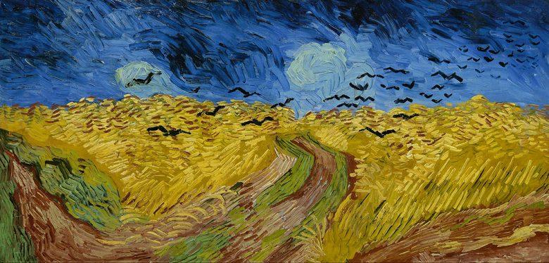 【送料無料】絵画 油彩画複製油絵複製画/ゴッホ カラスのいる麦畑 F15サイズ 808x686mm 【すぐに飾れる豪華額縁付 キャンバス】