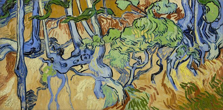 【送料無料】絵画 油彩画複製油絵複製画/ゴッホ 木の根と幹 F12サイズ 606x500mm 【すぐに飾れる豪華額縁付 キャンバス】