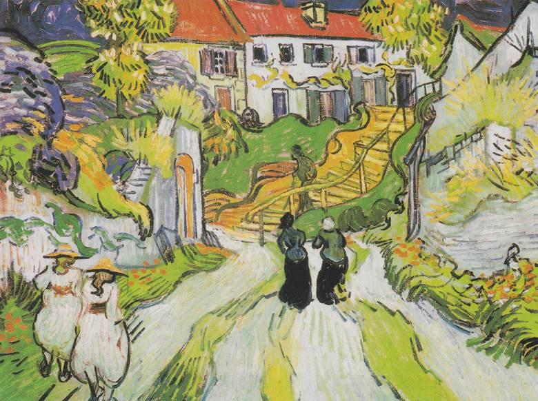 【送料無料】絵画 油彩画複製油絵複製画/ゴッホ 人物のいるオーヴェルの村の通りと階段 P12サイズ 762x611mm 【すぐに飾れる豪華額縁付 キャンバス】