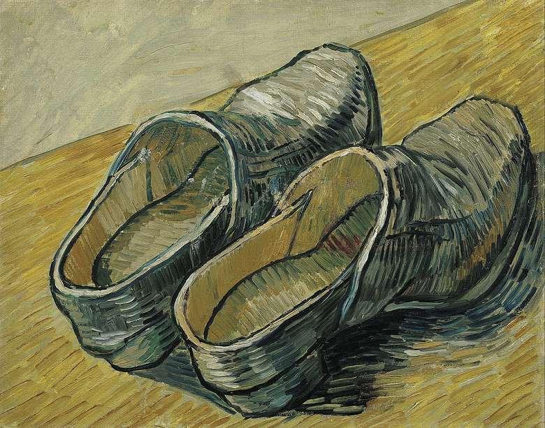 【送料無料】絵画 油彩画複製油絵複製画/ゴッホ 1足の革靴 F15サイズ 808x686mm 【すぐに飾れる豪華額縁付 キャンバス】