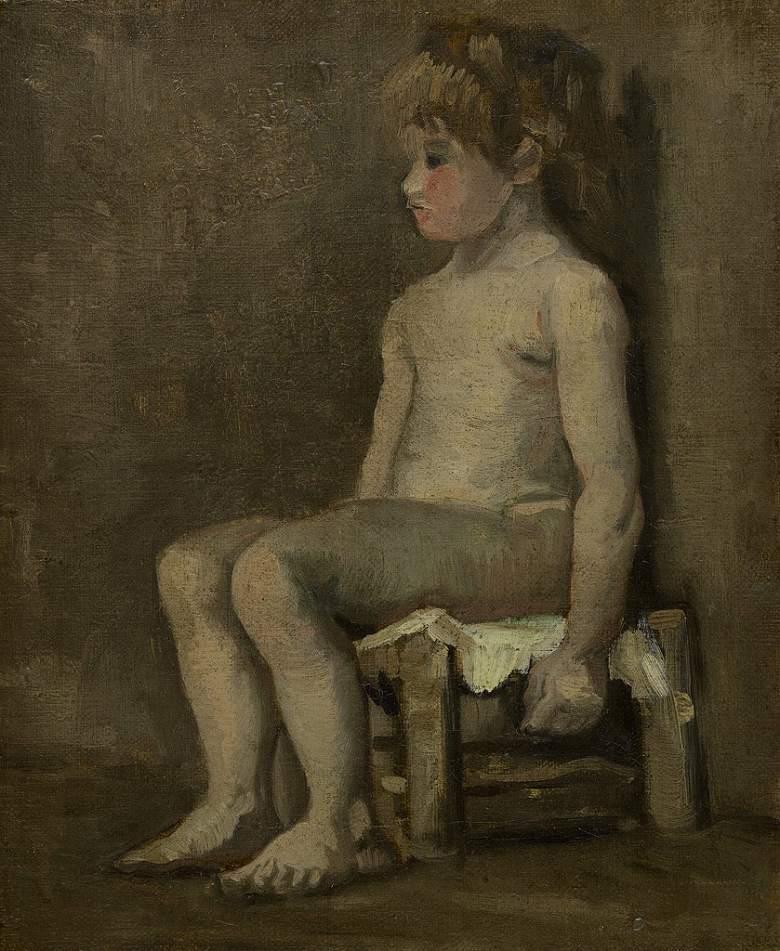 【送料無料】絵画 油彩画 油絵 複製画/ゴッホ 座った少女の裸像習作 F15サイズ 808x686mm 【すぐに飾れる豪華額縁付 キャンバス】