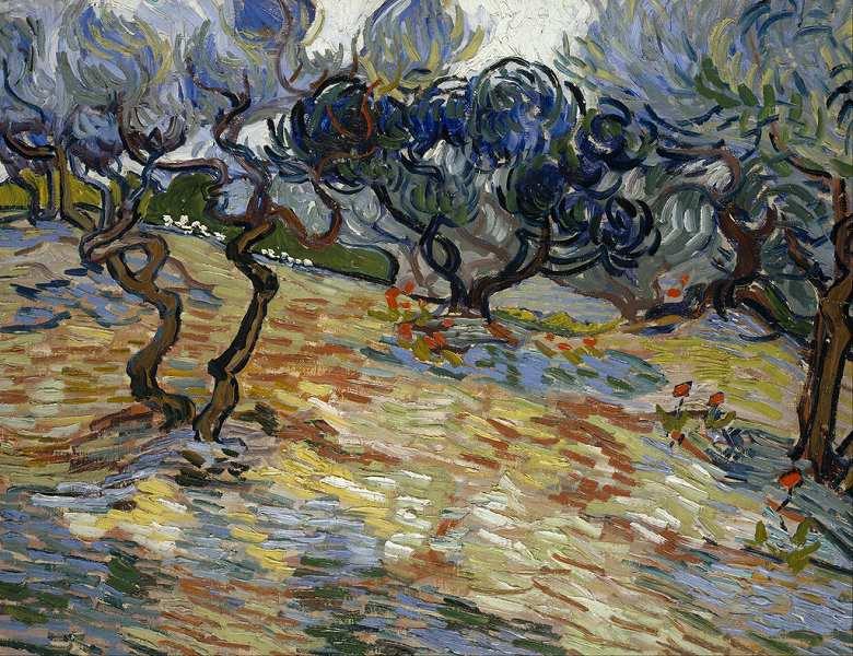 【条件付き送料無料】絵画 油彩画複製油絵複製画/ゴッホ オリーブの木々:鮮やかな青の空 F30サイズ 1066x883mm 【条件付き送料無料  額縁付 キャンバス】