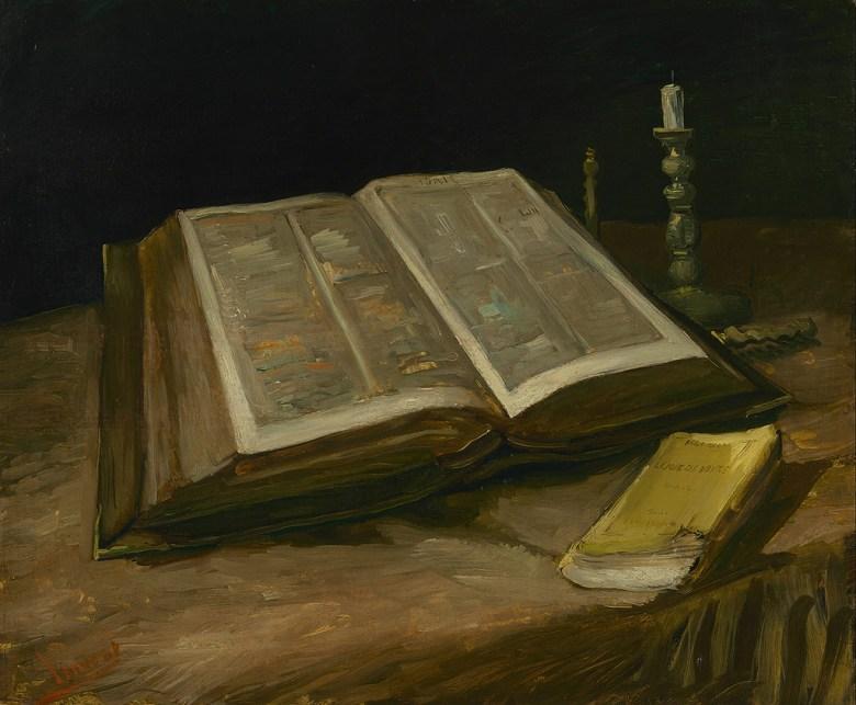【送料無料】絵画 油彩画複製油絵複製画/ゴッホ 聖書のある静物 F15サイズ 808x686mm 【すぐに飾れる豪華額縁付 キャンバス】