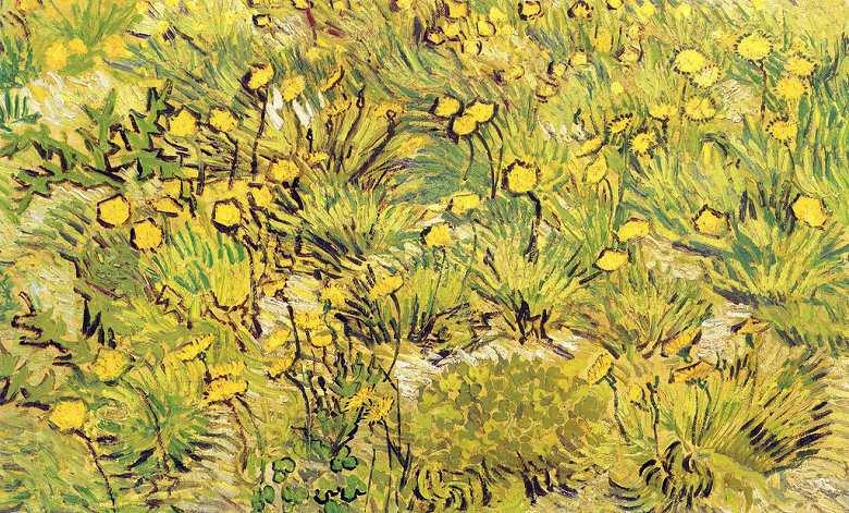 【送料無料】絵画 油彩画複製油絵複製画/ゴッホ 黄色い花の野 M15サイズ 808x686mm 【すぐに飾れる豪華額縁付 キャンバス】