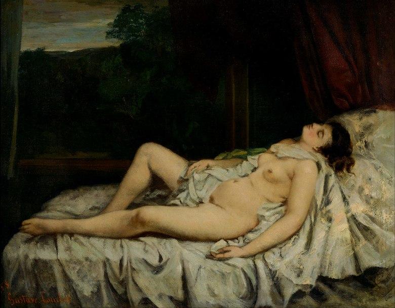 絵画 インテリア 額入り 壁掛け複製油絵ギュスターヴ・クールベ 眠れる裸婦 F20サイズ F20号 727x606mm 絵画 インテリア 額入り 壁掛け 油絵