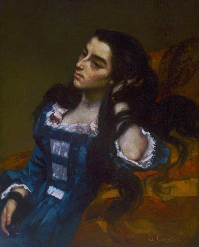 【送料無料】絵画 油彩画複製油絵複製画/ギュスターヴ・クールベ スペイン女性 F8サイズ F8号 455x380mm すぐに飾れる豪華額縁付きキャンバス