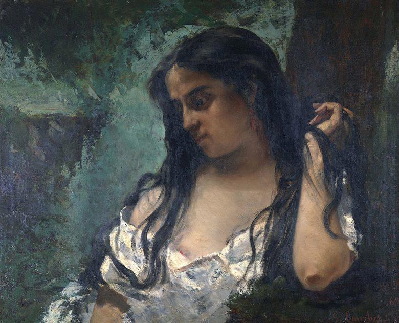 絵画 インテリア 額入り 壁掛け複製油絵ギュスターヴ・クールベ もの思うジプシー女 F20サイズ F20号 727x606mm 絵画 インテリア 額入り 壁掛け 油絵