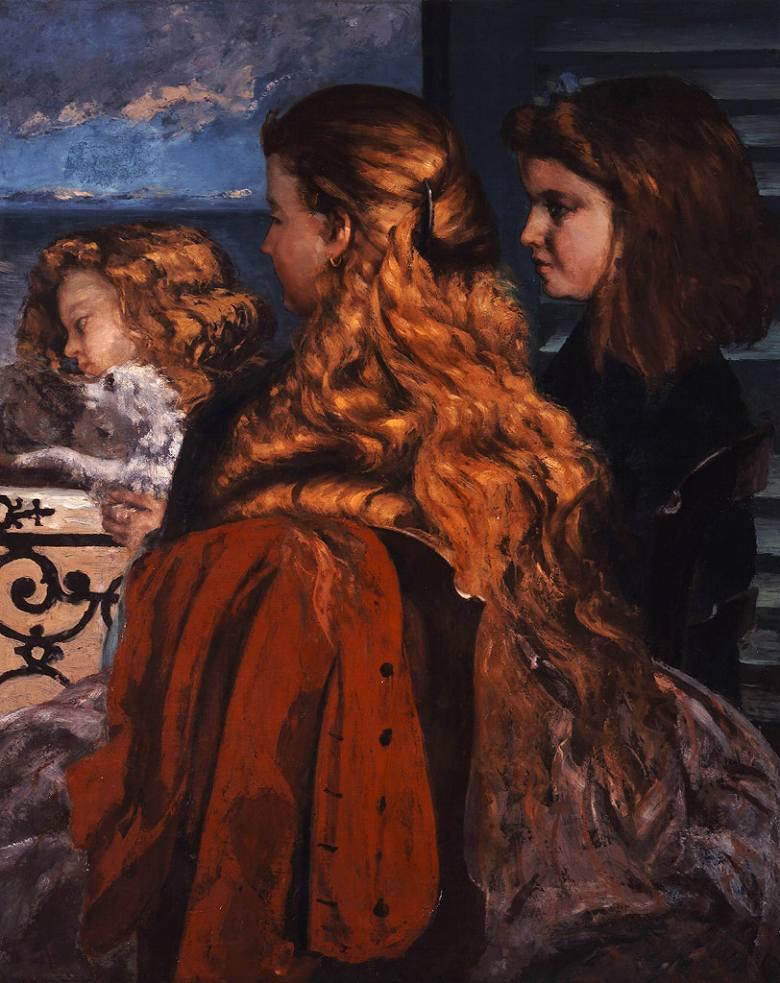 絵画 インテリア 額入り 壁掛け複製油絵ギュスターヴ・クールベ 窓辺の三人の英国少女 F20サイズ F20号 727x606mm 絵画 インテリア 額入り 壁掛け 油絵